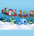 Santa and elf riding on train vector image vector image