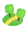 Road with trees 3d isometric icon vector image