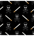 Burning Cigarette and Skull Seamless Pattern vector image