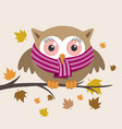 female owl with scarf on a fall day vector image