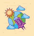 planet earth rocket sun cloud space universe vector image