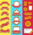 set of ribbons and frames with inscriptions on red vector image