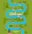 welcome to europe poster with famous attractions vector image