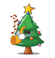 with trumpet christmas tree character cartoon vector image