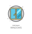 Window line icon logotype design templates vector image