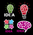logo idea brain on a black background vector image