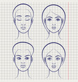 female faces on notebook page vector image