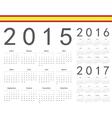 Set of spanish 2015 2016 2017 year calendars vector image
