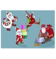 Four Santa on skis a snowmobile with gifts vector image
