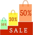 Paper bags with the discount percentage vector image