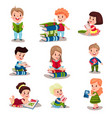 cute smart kids reading books set of vector image