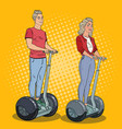pop art young man and woman riding segway vector image
