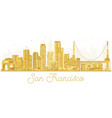 san francisco usa city skyline golden silhouette vector image