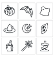 Set of Halloween Icons Pumpkin bat ghost vector image