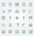 aquarium colorful icons vector image