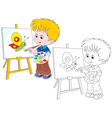 Little artist draws vector image vector image
