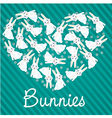 many rabbits forming a heart background lines vector image