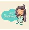 Cute Happy birthday cartoon greetings card vector image