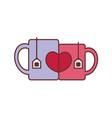 coffee and tea couple glass mug graphic vector image