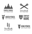 Logo badge label logotype elements with pencil vector image