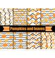 pumpkins and leaves seamless pattern with zig zag vector image