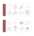 Set of isolated love thin lined outlined icons vector image