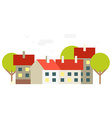 Small town flat Buildings background vector image