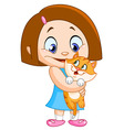 girl with kitten vector image vector image