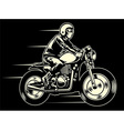 man ride a classic custom motorcycle vector image