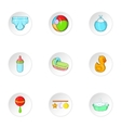 Baby supplies icons set cartoon style vector image