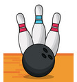 bowling ball pins sport game vector image