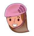 cute young girl child with sport helmet vector image
