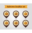 Halloween pumpkins mapping pin icon set vector image