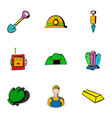 mine icons set cartoon style vector image
