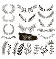 plants doodle border wreath vector image