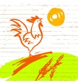 Rooster in the meadow the vector image