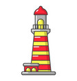 striped lighthouse icon cartoon style vector image