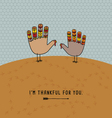 Thanksgiving card with cute hand print turkeys vector image