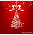 christmas tree icon for christmas card vector image vector image