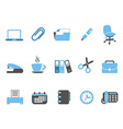 office tools icon set blue series vector image