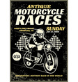 motorcycle race poster in grunge textured style vector image