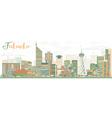Abstract Fukuoka Skyline with Color Landmarks vector image vector image