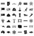 big bridge icons set simple style vector image