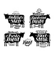 butcher shop barbecue party label set meat beef vector image