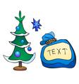 Christmas tree and gifts bag vector image