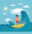 man surfing on wave vector image
