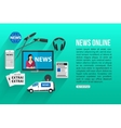 News online flat design concept with place for vector image