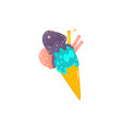 waffle cone with three scoopes of colorful ice vector image