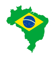 Map and flag of Brazil vector image vector image