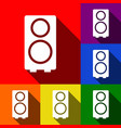 Speaker sign set of icons vector image